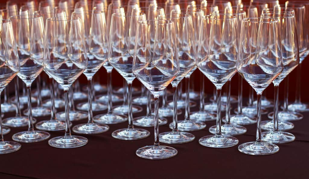 Wine glasses on display at a food and wine festival in Scottsdale, Arizona.