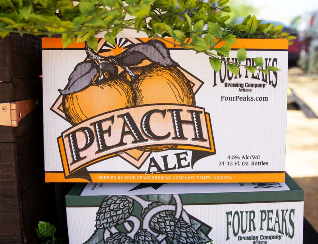 Boxes of Four Peaks Peach Ale at a beer festival in Phoenix, Arizona.