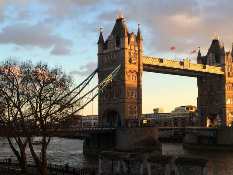 London Bridge at sunset in London, England.