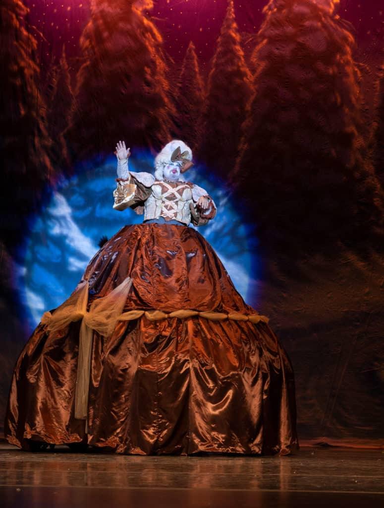 Mother Ginger on stage in The Nutcracker Ballet.