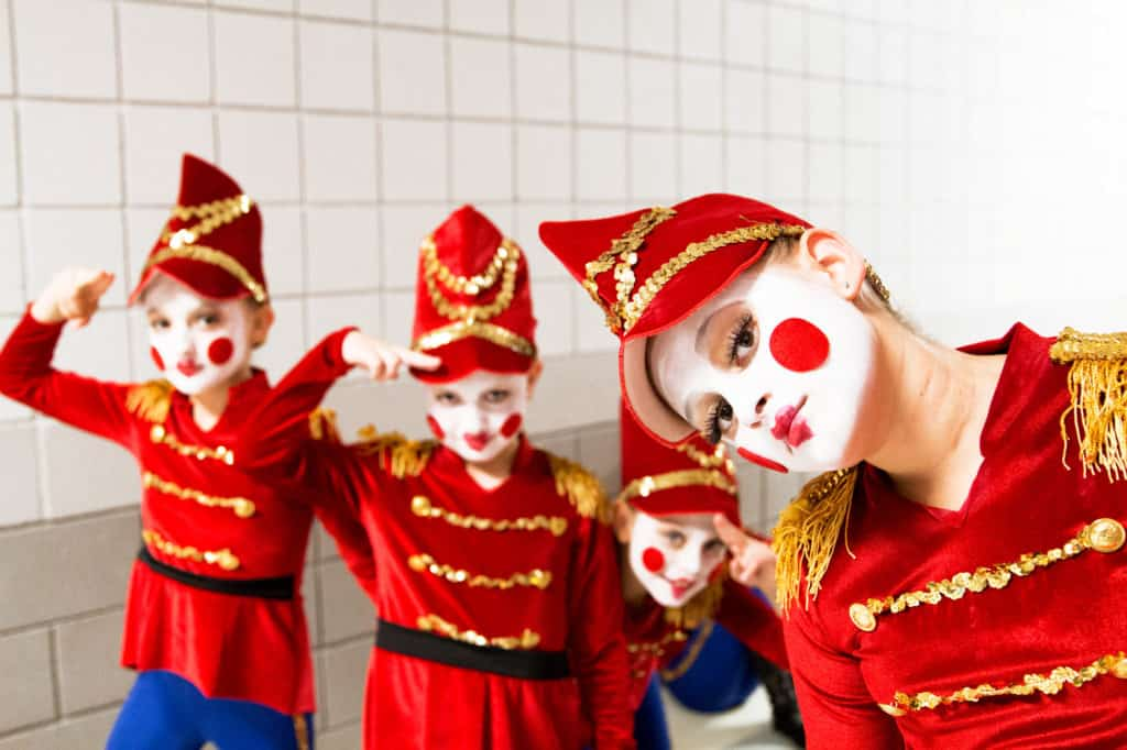 Toy Dolls from The Nutcracker Ballet saluting.