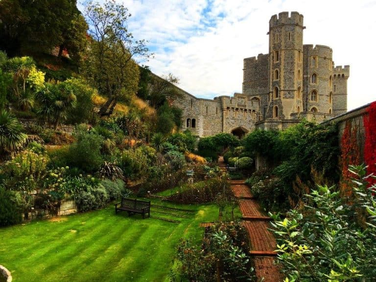 Gardens and lawns at Windsor Castle in England.